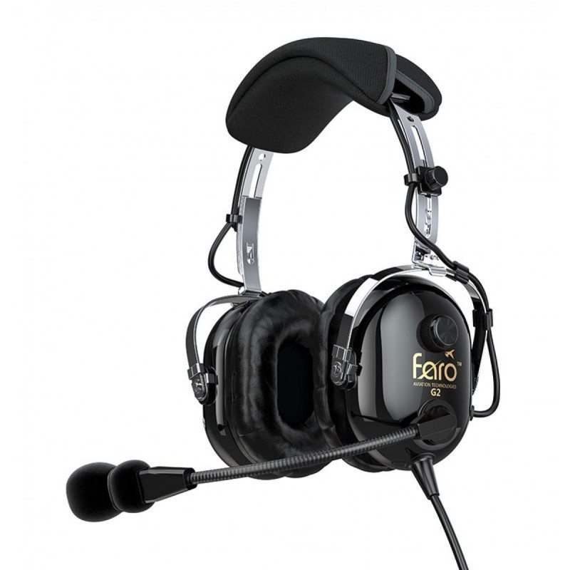 24205292100 Faro G2 ANR Active Noise Reduction Premium Pilot Aviation Headset with Mp3  Input - Black. Loading zoom